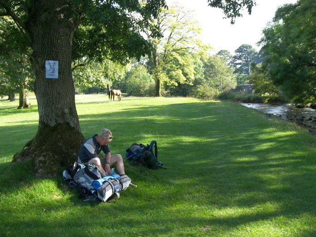 Taking a break in the grounds of Hanlith Hall